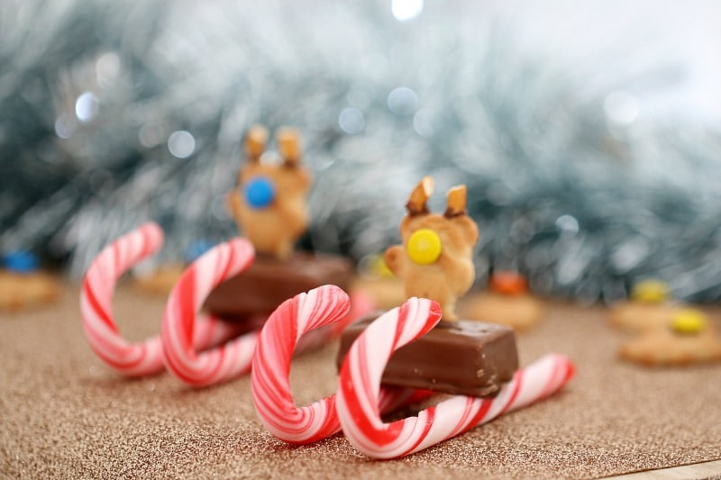 Candy cane sleigh with a mini chocolate bar and Tiny Teddy on top