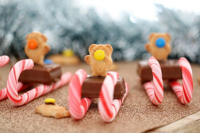 Tiny Teddy Christmas Candy Cane Sleighs