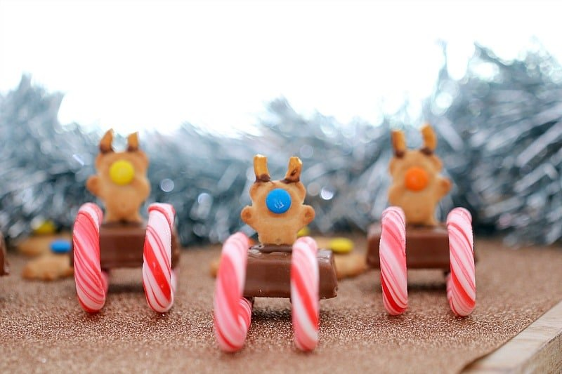 Tiny Teddy biscuits on a mini chocolate bar with candy canes underneath to resemble a Christmas sleigh