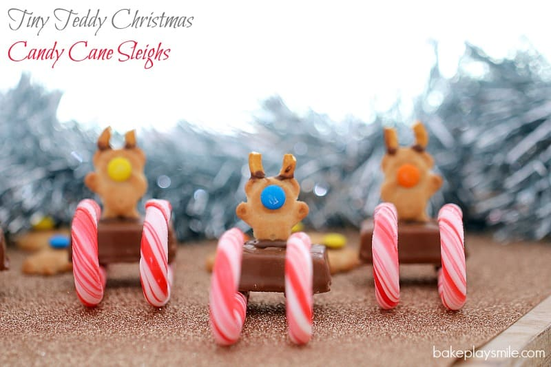 Mini Milky Way bars with candy canes and Tiny Teddy biscuits put together to resemble a reindeer sleigh