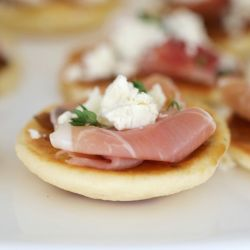Easy Blinis With Goats Cheese & Prosciutto