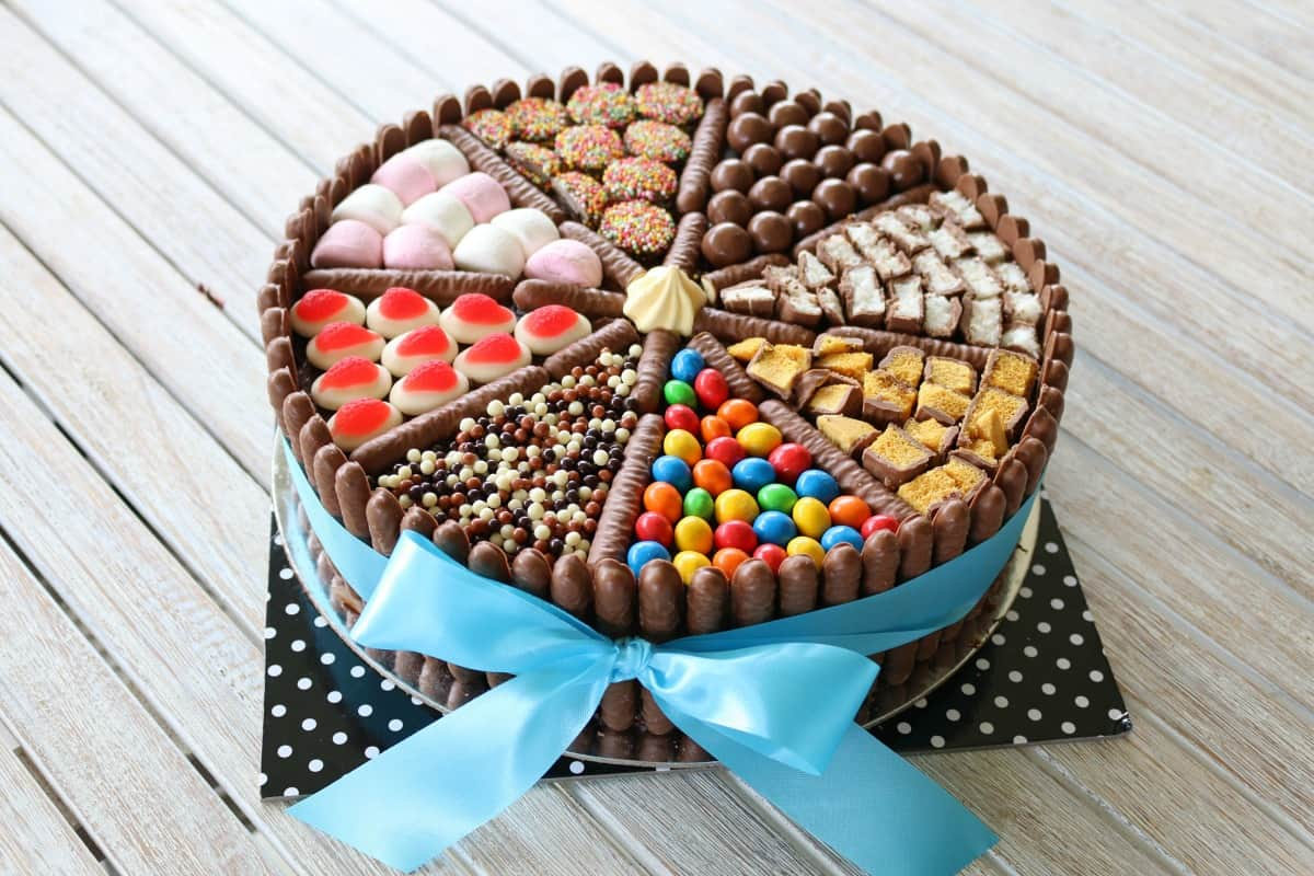Easy Chocolate Birthday Cake (lollies, chocolates & more!) - Bake ...