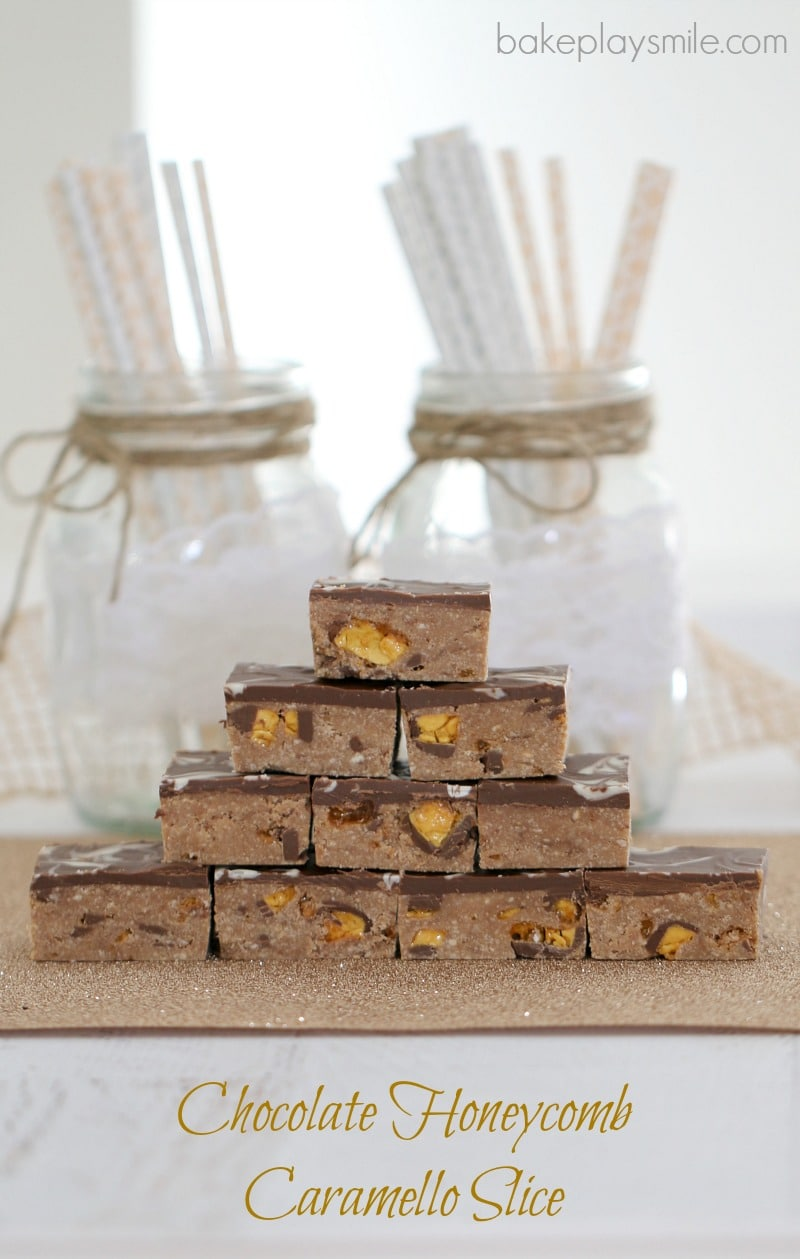 Pieces of chocolate honeycomb and caramello slice stacked on a bench