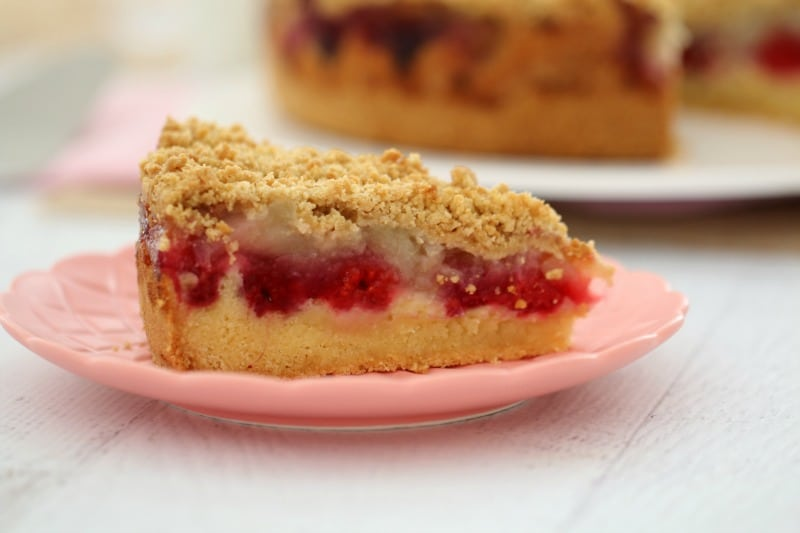 A close up of a piece of cake showing a butter cake base, layers of berries and apple and an oat crumble on top
