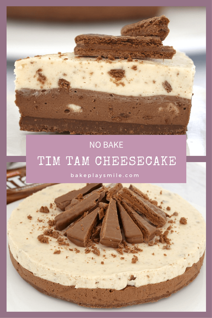 Two images of a chocolate layered cheesecake made with Tim Tam biscuits