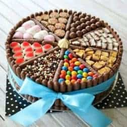 A chocolate Birthday cake decorated with sweets and chocolate confectionery