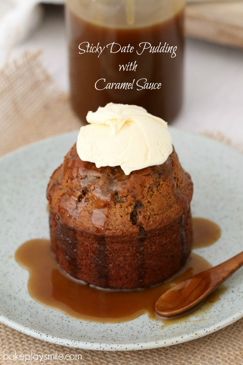 Caramel sauce drizzled over an individual sticky date pudding on a plate, and a dollop of whipped cream on top