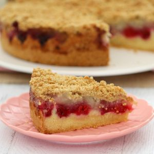A close up of a slice of a layered cake with raspberries and crumble on top, a=served on a pink plate
