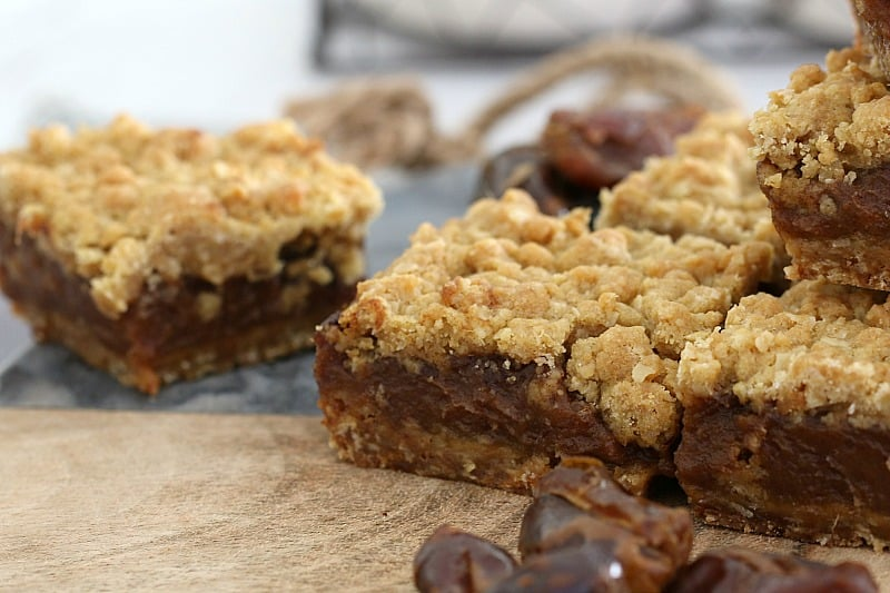 Date slice with a crunchy streusel top.