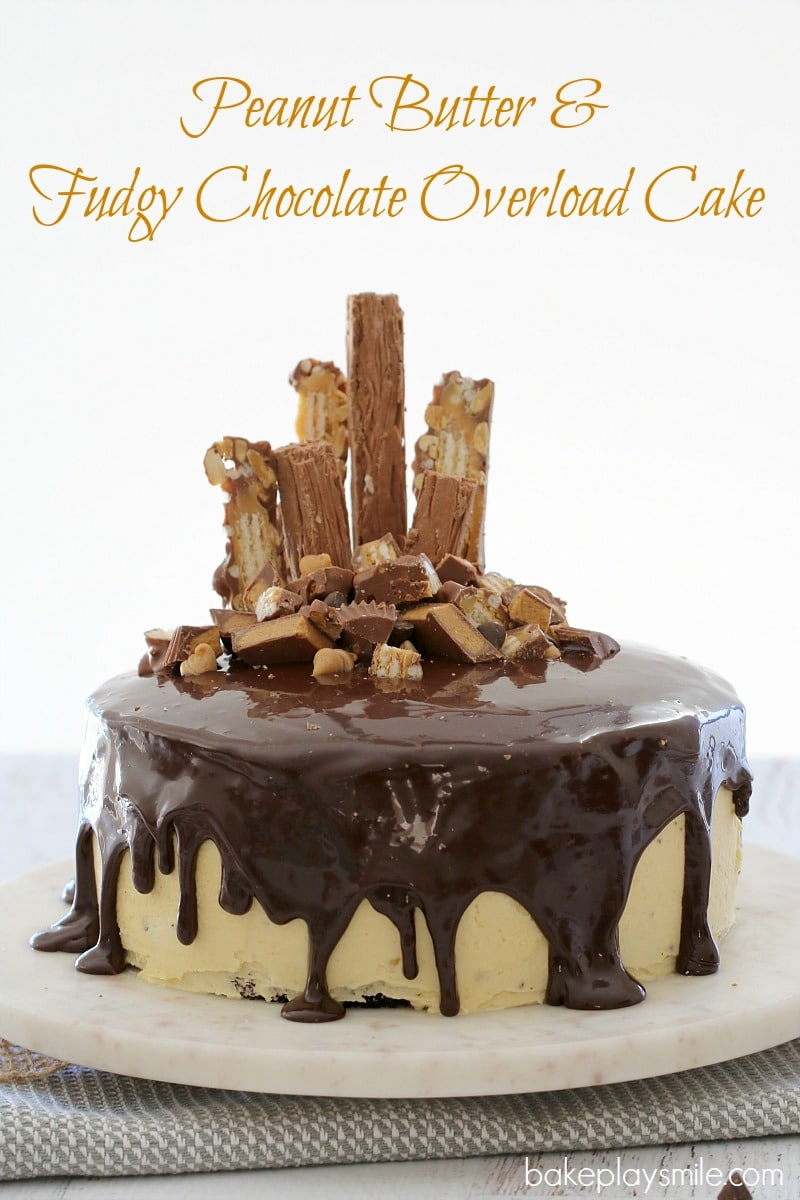 Peanut Butter & Fudgy Chocolate Overload Cake