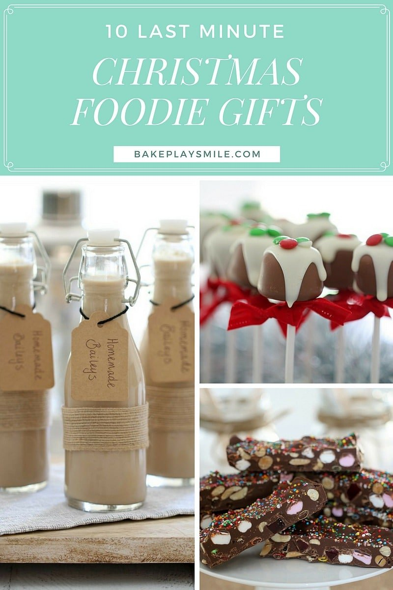 A collage of Christmas foodie gifts - small bottles of homemade Baileys, mini Christmas puddings and rocky road