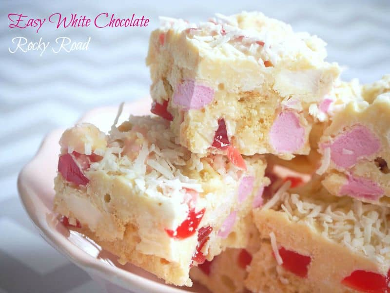 White rocky road pieces filled with marshmallows and turkish delight on a plate