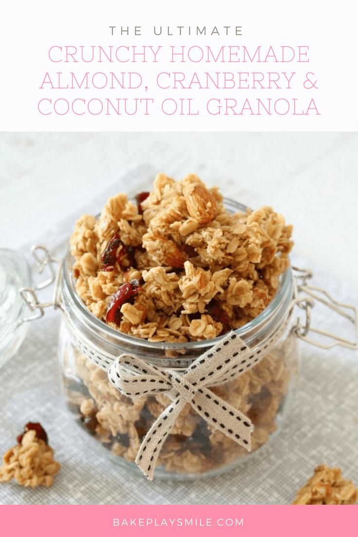Crunchy Homemade Almond, Cranberry & Coconut Oil Granola image