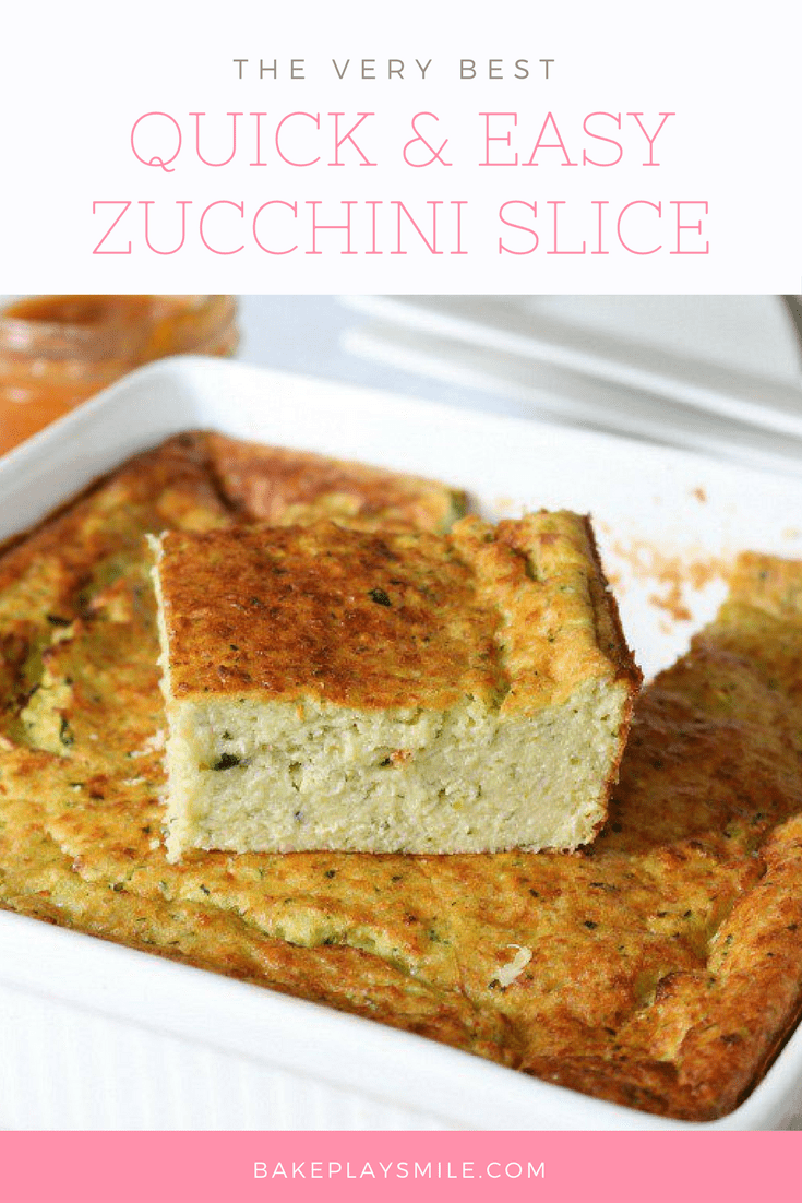 Quick & Easy Zucchini Slice (with bacon & cheese) - Bake Play Smile