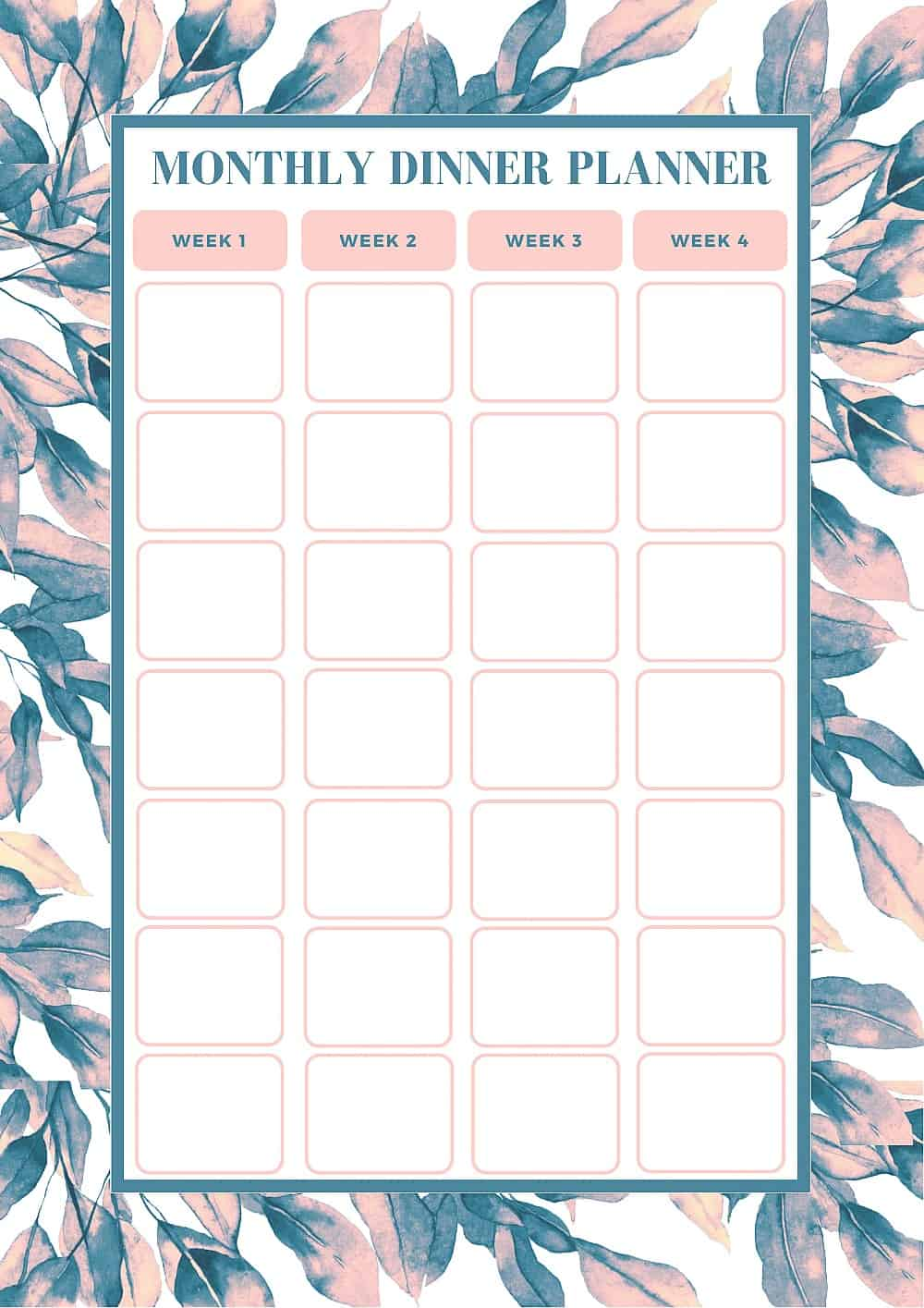 Free monthly meal planning template bake play smile for Monthly dinner calendar template