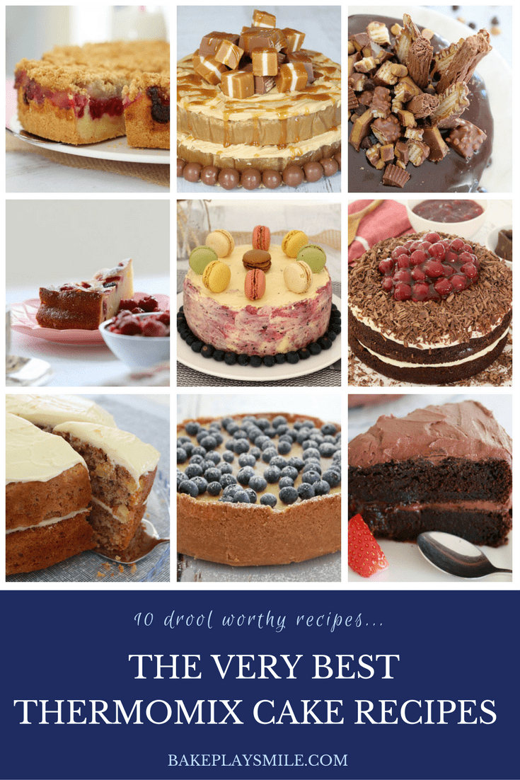 A collage of photos showing cakes and cheesecakes in the Very Best Thermomix Cake recipe book