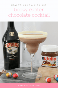 A chocolate cocktail with Baileys, Nutella and easter eggs in the background.