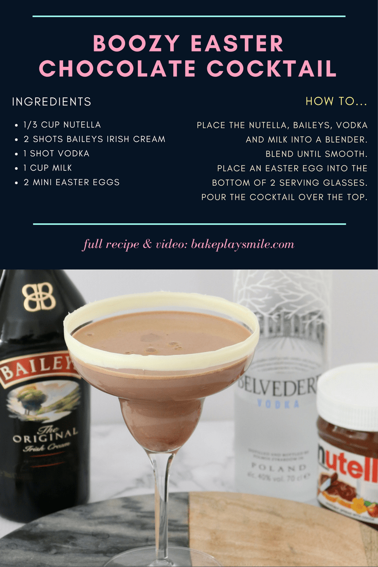Instructions for how to make a easter chocolate cocktail.