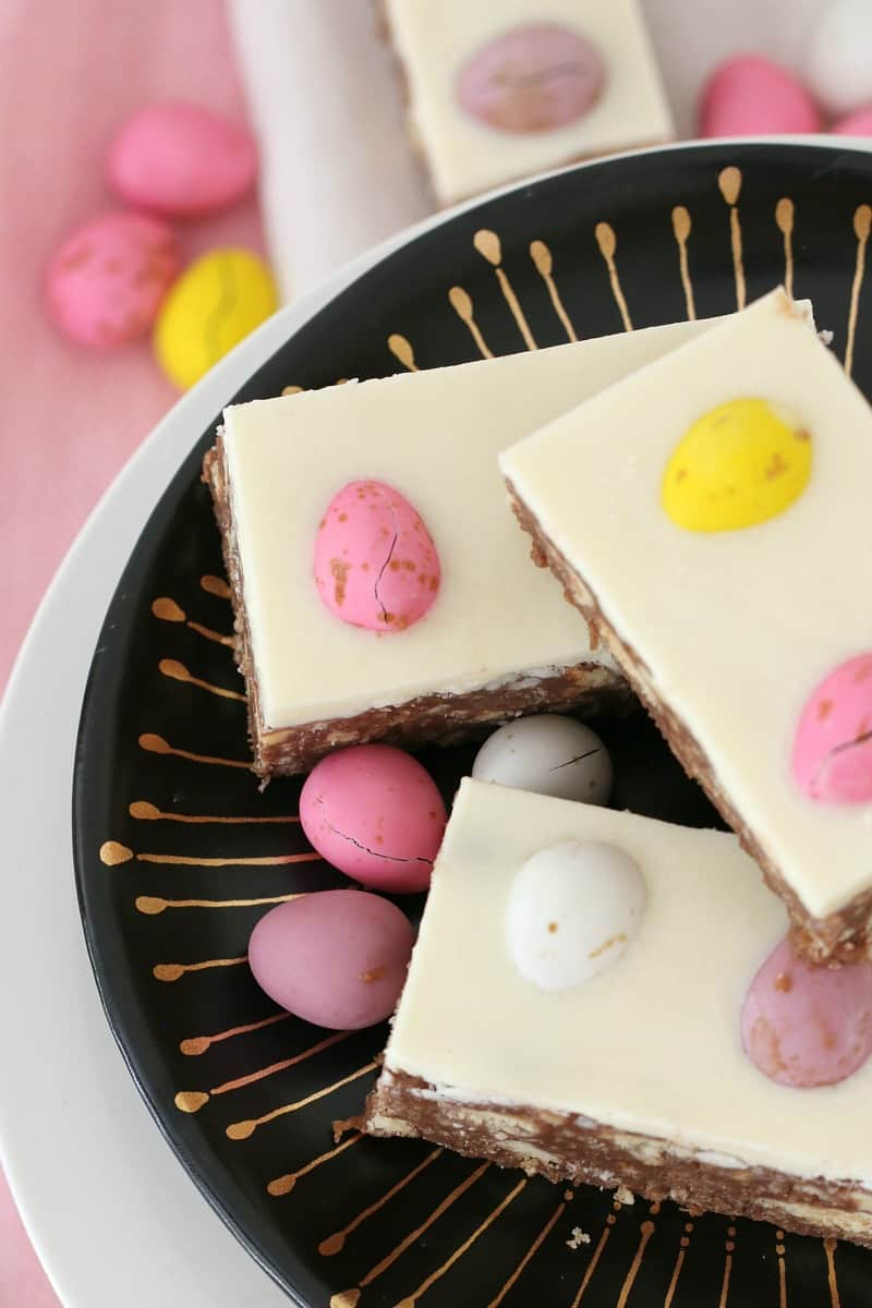 A bright and colourful easter egg slice.