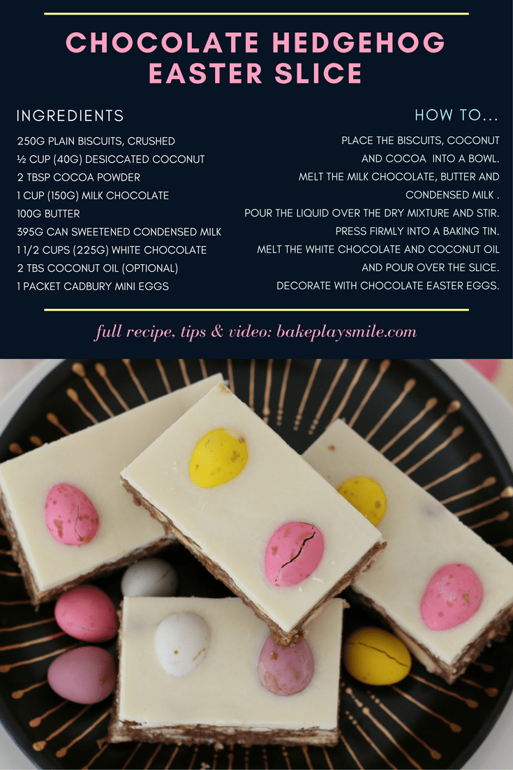 A step by step recipe poster for making a easter slice.