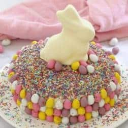 A round cake decorated with pretty pastel sprinkles, mini pastel Easter eggs and a white chocolate bunny on top