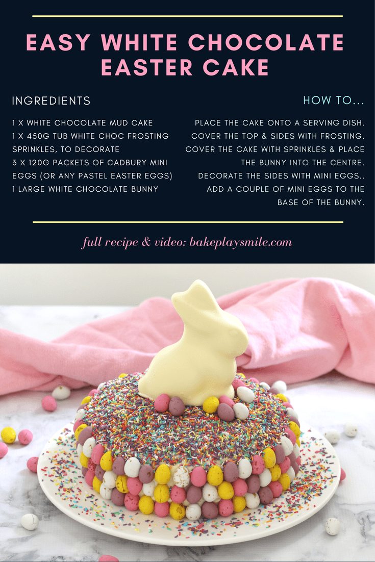 Easy White Chocolate Easter Cake (15 Minutes!) image