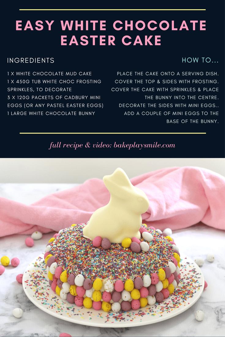 Easy White Chocolate Easter Cake 15 Minutes Bake Play Smile