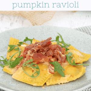 Homemade Roasted Pumpkin Ravioli with Creamy Sun-Dried Tomato Sauce & Crispy Prosciutto image