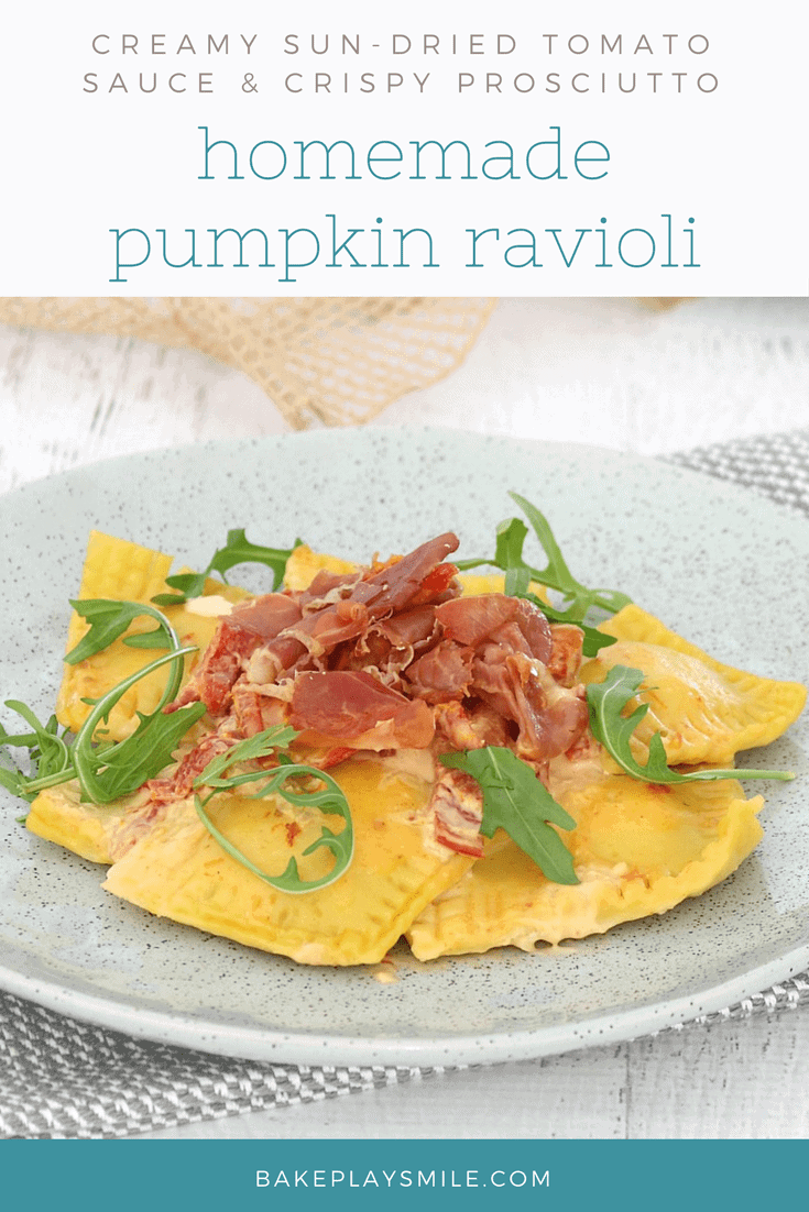 Homemade Roasted Pumpkin Ravioli with Creamy Sun-Dried Tomato Sauce & Crispy Prosciutto image