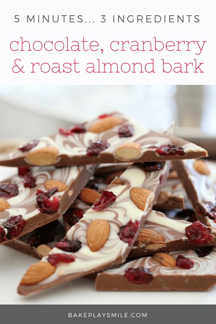3 ingredient Chocolate, Cranberry & Roast Almond Bark