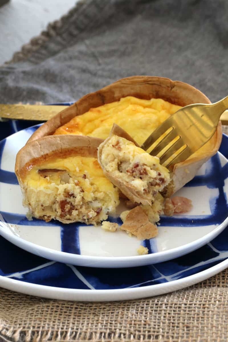 Easy Cheesy Egg And Bacon Tortilla Shell Quiches Bake Play Smile