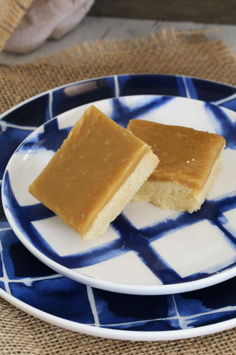 Two squares of slice made with a crunchy base and ginger flavoured icing, served on a blue and white plate