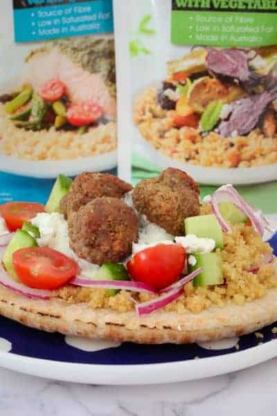 Oven Baked Greek Lamb Meatball Pitas