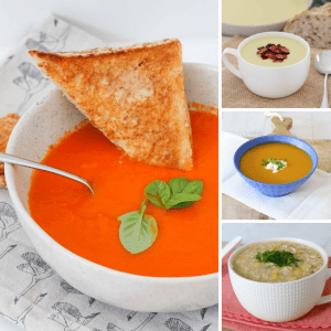 Four servings of various soups in bowls.
