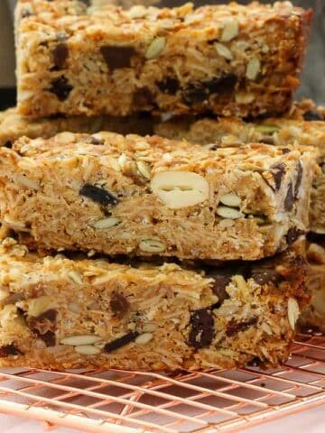 These really are the very best homemade muesli bars... soft & chewy with just the right amount of crunch! Made with rolled oats, puffed rice, honey, nuts, seeds, dried fruit, coconut oil, nut butter and more!