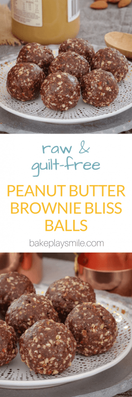 Looking for a healthy and guilt-free snack that tastes super naughty? These Raw Peanut Butter Brownie Bliss Balls taste just like a brownie... but are totally healthy!