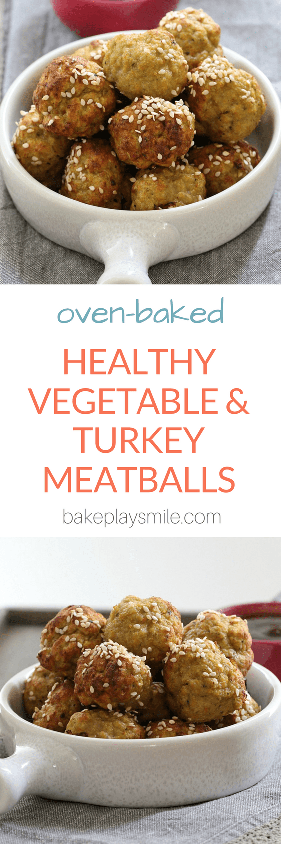 A photo of a title for oven baked Healthy Vegetable and Turkey Meatballs