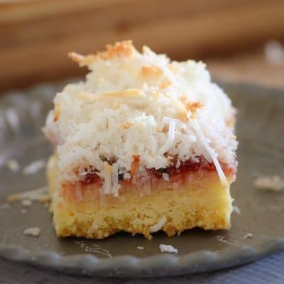 Coconut, Passionfruit & Raspberry Jam Slice