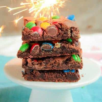 M&M Chocolate Brownie Slice | Crunchy & Chewy