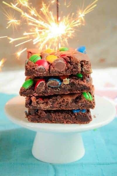 M&M Chocolate Brownie Slice | Crunchy & Chewy