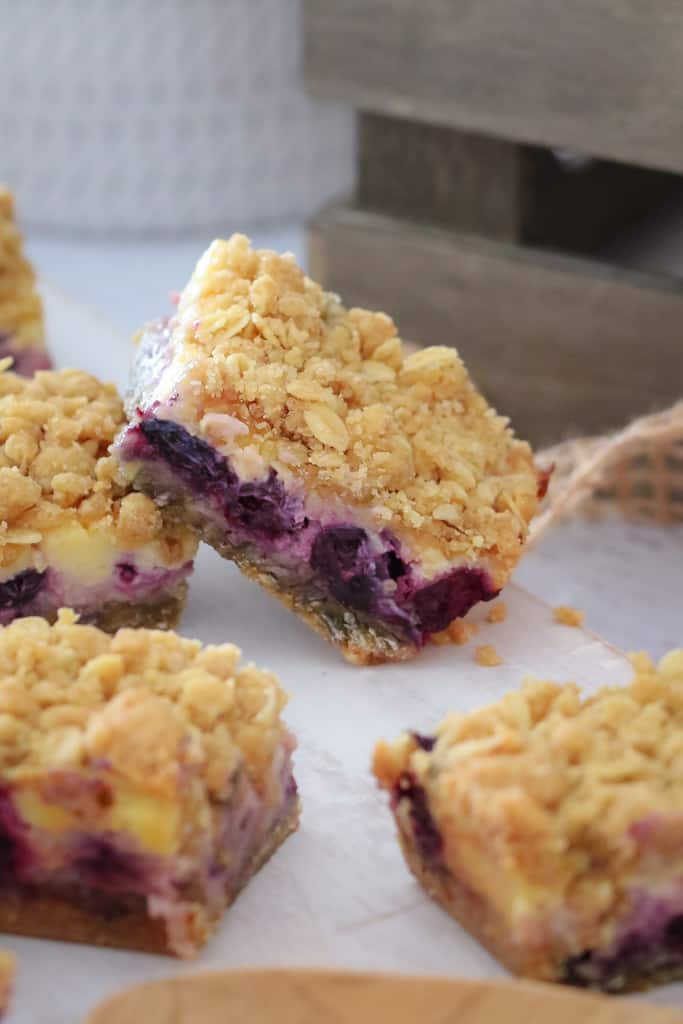 The most delicious Lemon Blueberry Crumble Slice ever! Creamy, tangy and oh-so yum... the perfect dessert or afternoon treat!