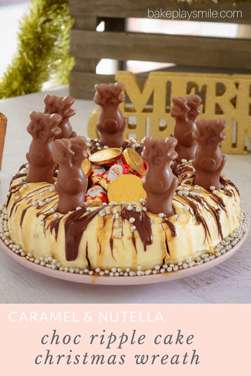 Christmas Chocolate Ripple Cake Wreath Caramel Nutella Bake Play Smile