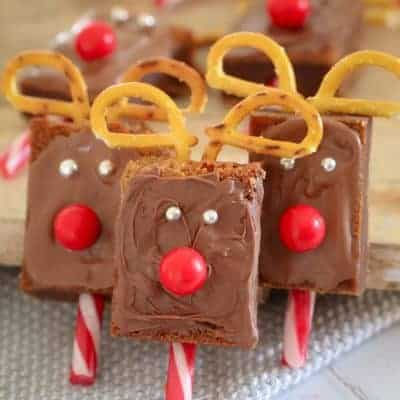 Super Easy Christmas Reindeer Brownies