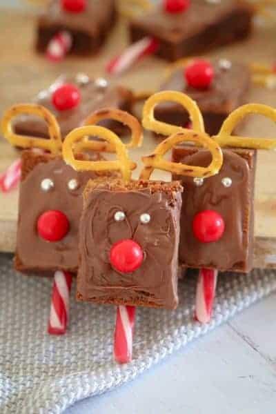 Super Easy Christmas Reindeer Brownies