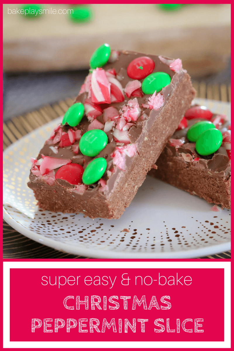 The BEST No-Bake Peppermint Chocolate Christmas Slice made with peppermint chocolate and decorated with candy canes and M&Ms!