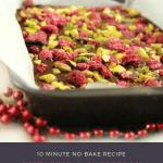 A tray of pistachio and raspberry dark chocolate bark