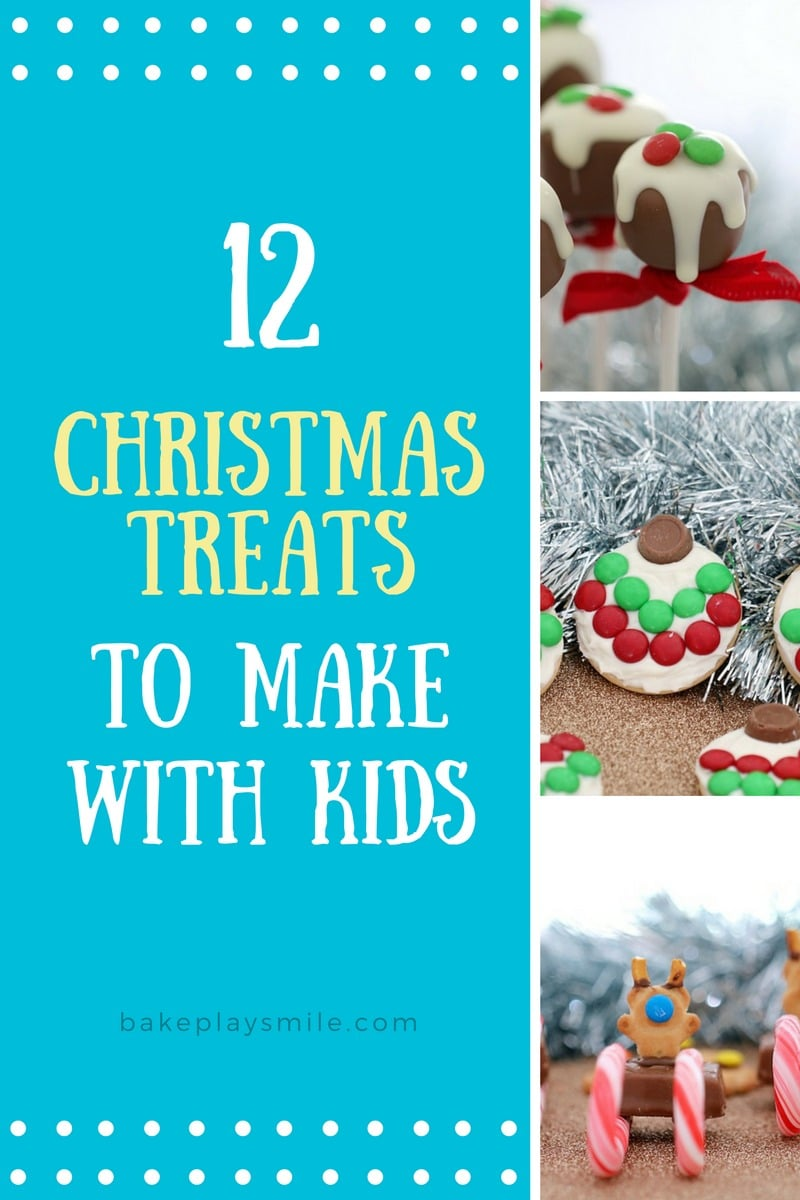 A recipe book - 12 Christmas Treats to make with Kids, showing photos of Christmas treats