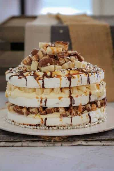Chocolate, Caramel & Peanut Pavlova