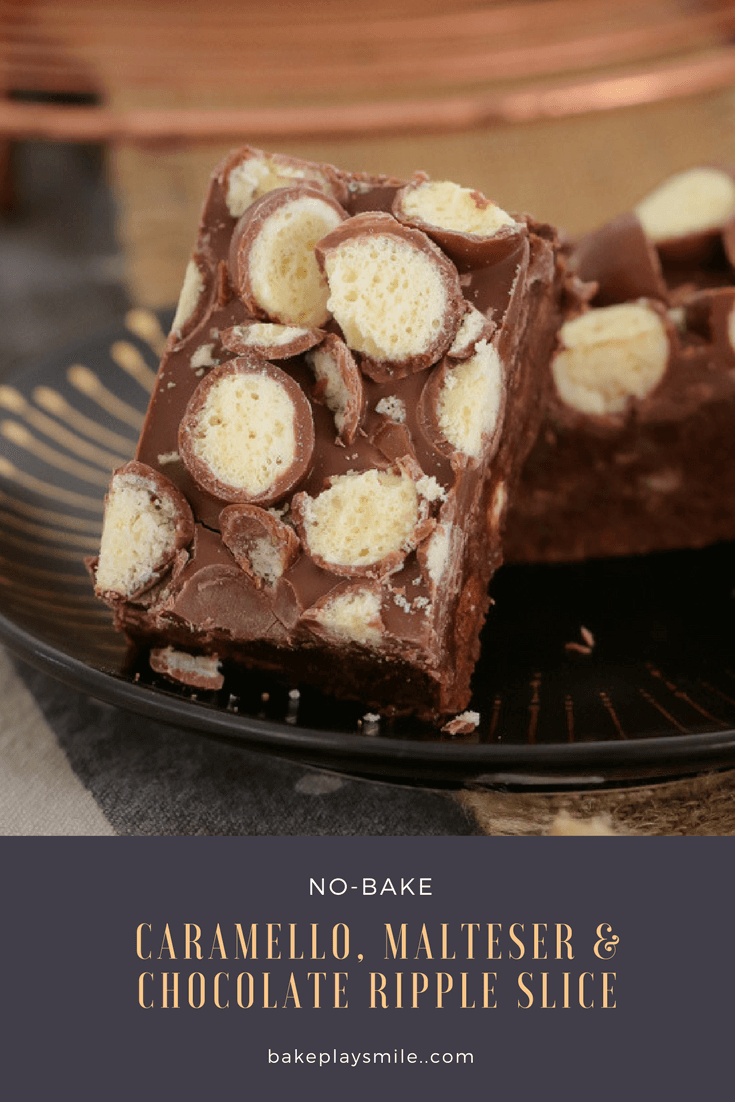 This 10 minute no-bake Caramello, Malteser & Chocolate Ripple Slice recipe is the BEST! Super easy and totally delicious!