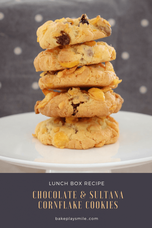These Crunchy Chocolate Chip & Sultana Cornflake Cookies are the perfect lunchbox recipe. They're quick, easy and a guaranteed winner!
